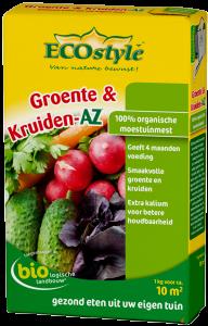 Afbeelding van de verpakking van ECOstyle Groente & Kruiden AZ meststof