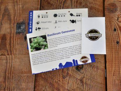 Infofiche en pakje zaad van de basilicum genovese